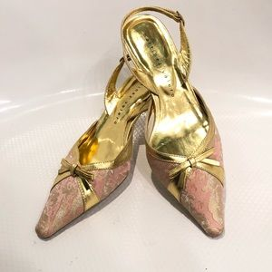 Women's Martinez Valero Gold & Pink Shoes Bow 7.5